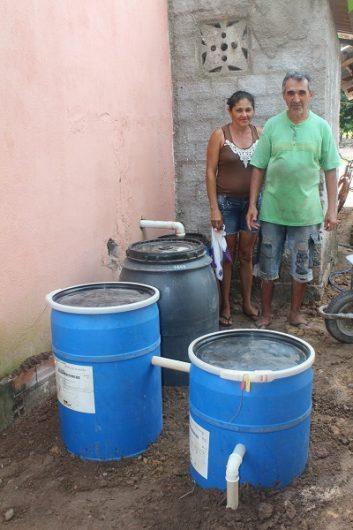 Sistema de Tratamento e reuso de água instalado na casa do agricultor Antônio Professor , no P.A. Ouro Verde.